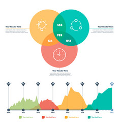 Infographics elements line chart and circles vector