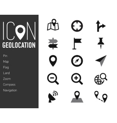 Map Icons and Location Icons with White Background vector image