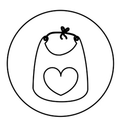 Monochrome contour with baby bib in round frame vector