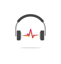 Music logo concept isolated headphones red vector image
