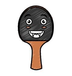 Ping pong racket kawaii character vector
