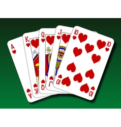 Poker hand - Royal flush heart vector image