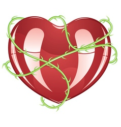 Red heart with thorns2 vector