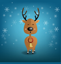 reindeer funny on snowflake and blue background vector image