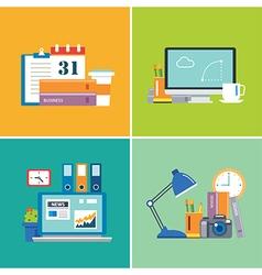 set of flat design workspace vector image vector image