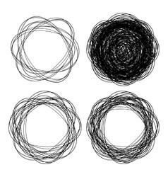 Set of hand drawn line emblem scribble circles vector