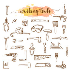 set of working tools doodle sketch vector image