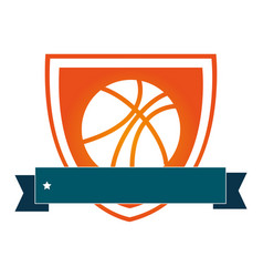 Silhouette color shield with basketball ball and vector