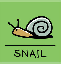 Snail hand-drawn style vector
