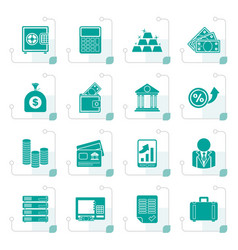 stylized bank and finance icons vector image
