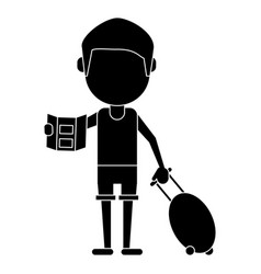Tourist traveler man luggage and map pictogram vector