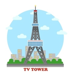 Tv station and radio mast and tower for television vector