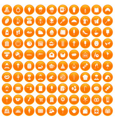 100 patisserie icons set orange vector