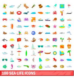 100 sea life icons set cartoon style vector