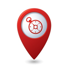 Map pointer with compass icon vector