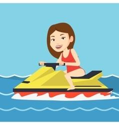 Caucasian woman training on jet ski in the sea vector