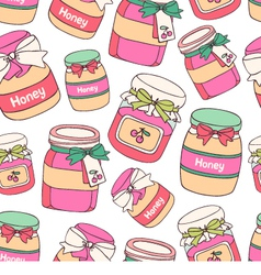 Jars of cherry jam and honey vector