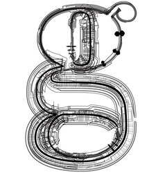 Technical typography Letter g vector image