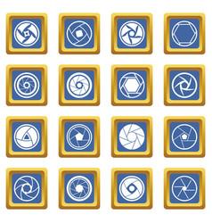 Photo diaphragm icons set blue vector