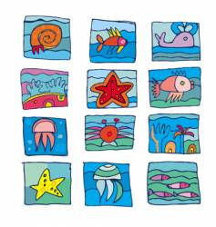Marine underwater icons vector