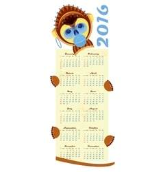 2016 calendar with picture monkey - symbol of year vector image vector image