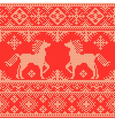 Embroidery red christmas pattern vector