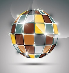 3D metal gold futuristic globe created from vector image vector image