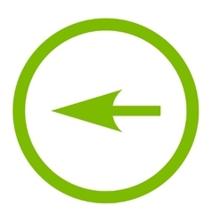 Sharp left arrow flat eco green color rounded vector