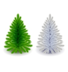 Green and white christmas tree isolated vector