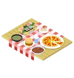 Food isometric icons on table vector