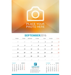 September 2016 wall monthly calendar for 2016 year vector