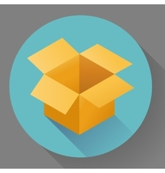 Icon of empty post cargo cardboard box flat style vector