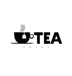 Tea enjoy sign in black vector