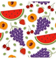 Seamless patterns with berries and fruits vector