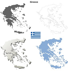 Greece outline map set vector