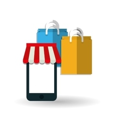 Shopping bag and smartphone design vector
