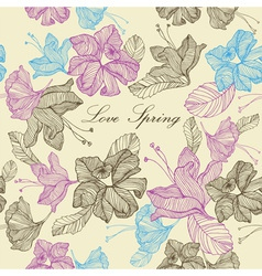 Retro Spring Love Flowers Background vector image