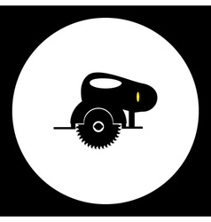 Black circular saw motor saw simple isolated icon vector