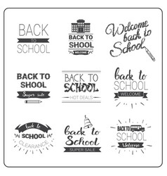 Back to school logos set doodle hand drawn label vector