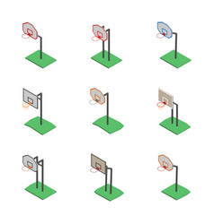Basketball shield with basket in isometric vector