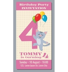 Birthday holiday greeting and invitation with cute vector image