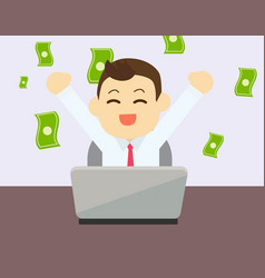 Businessman glad to earning money from online vector