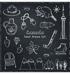 Canada hand drawn icon doodle set vector