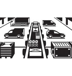Cargo handling in warehouse vector image vector image