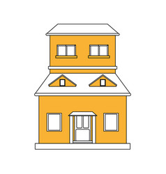 Color silhouette cartoon yellow facade structure vector