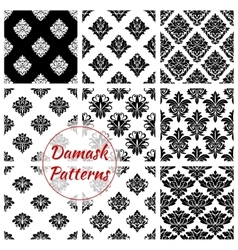 Damask seamless patterns of floral ornate tracery vector