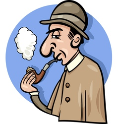 detective with pipe cartoon vector image