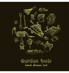 Garden tools doodle set Various equipment vector image