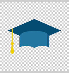Graduation cap flat design icon finish education vector