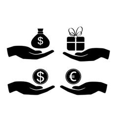 icon money in hand vector image vector image